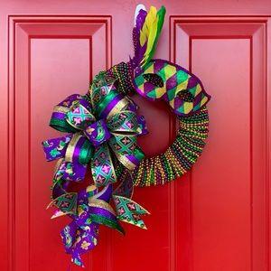 New Orleans Mardi Gras Beaded Wreath